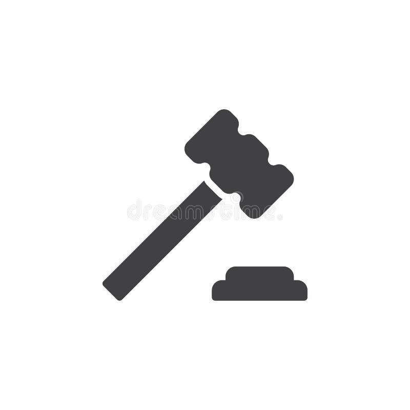 Julgue o martelo, vetor do ícone do martelo, sinal liso enchido, pictograma contínuo isolado no branco ilustração do vetor