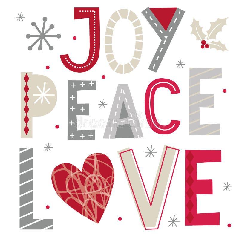 Julhälsningar med glädje, fred och kärlek, typografi på vit bakgrund royaltyfri illustrationer