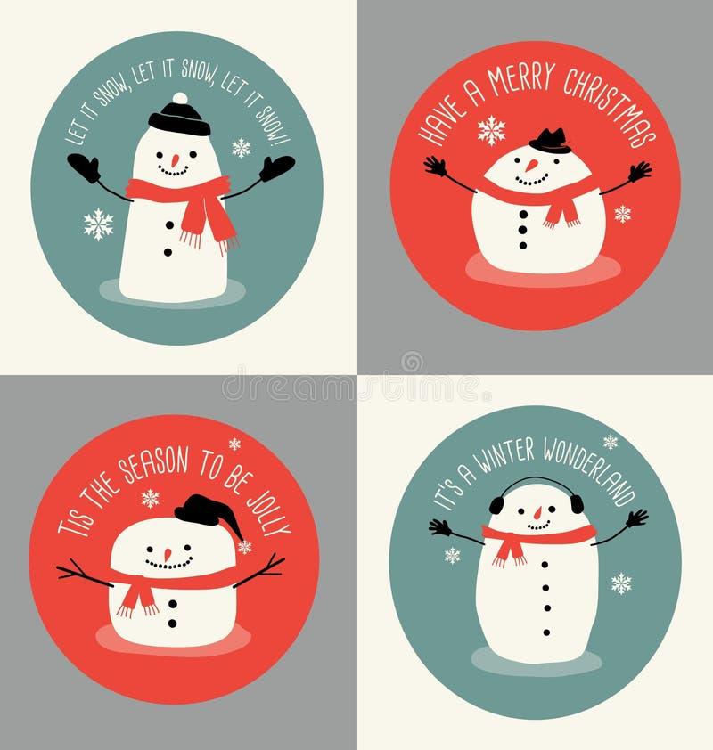 Julhälsningkort eller gåvaetiketter med gulliga snögubbear vektor illustrationer