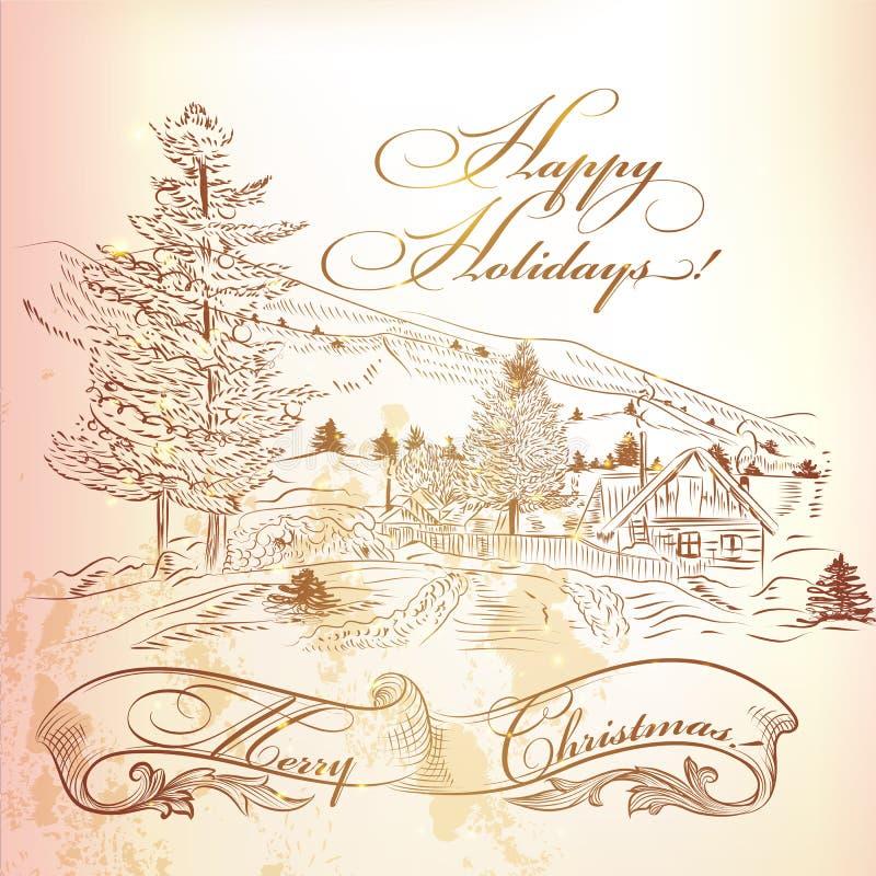Julhälsningkort i tappningstil med hand dragen landsca royaltyfri illustrationer
