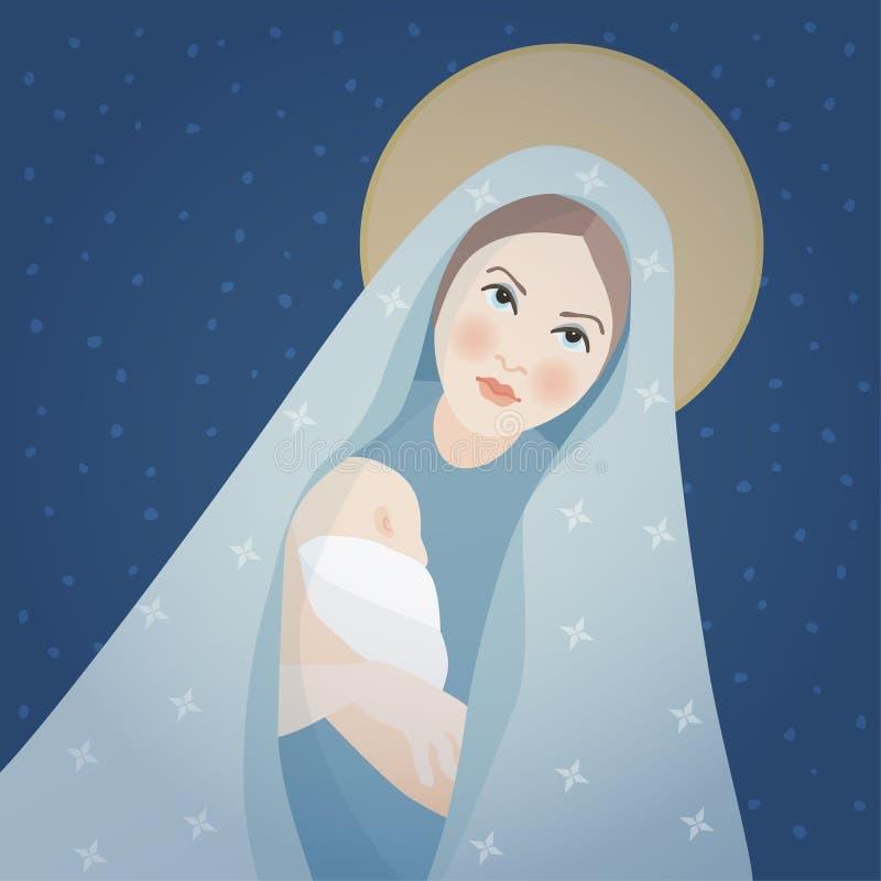 Julhälsningkort, inbjudan St Mary och att behandla som ett barn Jesus Christ Mother som rymmer hennes lilla barn Biblisk vektor royaltyfri illustrationer