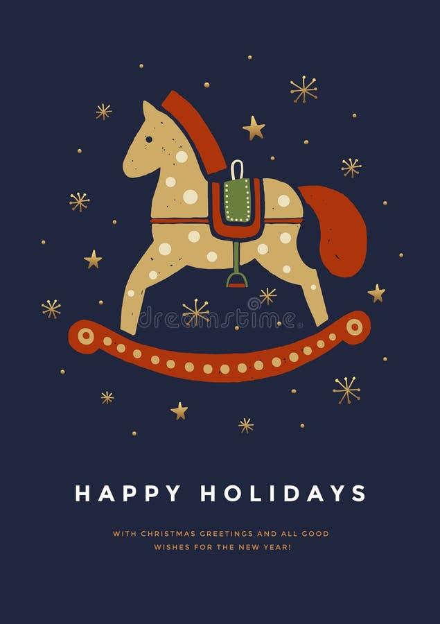 Julhälsningkort med den gulliga vagga hästen Mall för feriekort vektor illustrationer