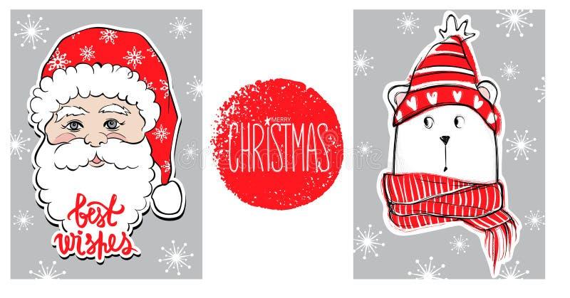Julhälsningkort med den roliga björnen i röd tröja, halsduk, hatt och gulliga Santa Claus nytt år för lycklig illustration royaltyfri illustrationer