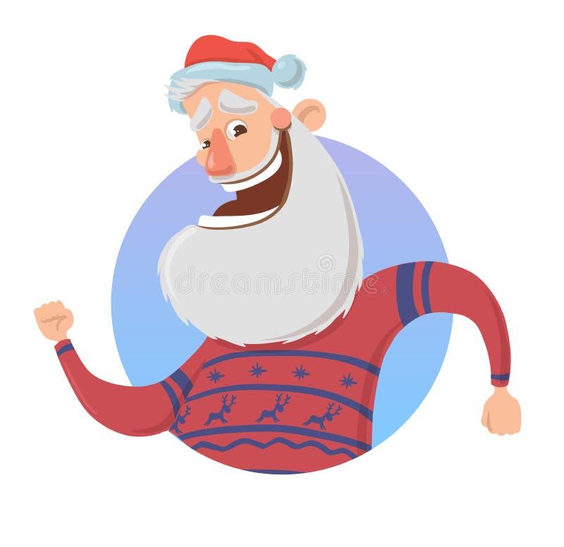 Julhälsningkort med den roliga Santa Claus le och vinkande handen Jultomten i hjorttröja vinkar hälsningar Isolerat på stock illustrationer