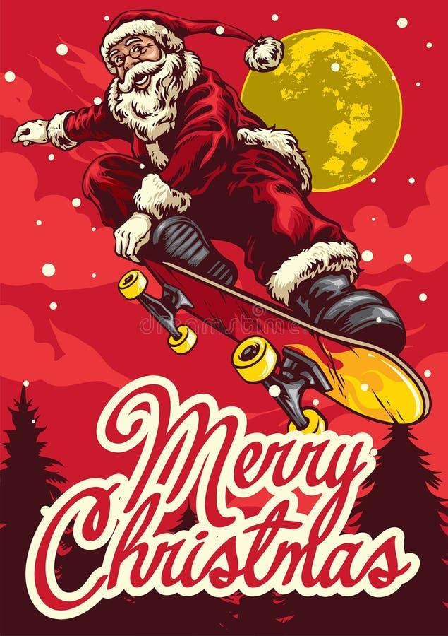 Julhälsningkort med den Santa Claus ridningskateboarden royaltyfri fotografi