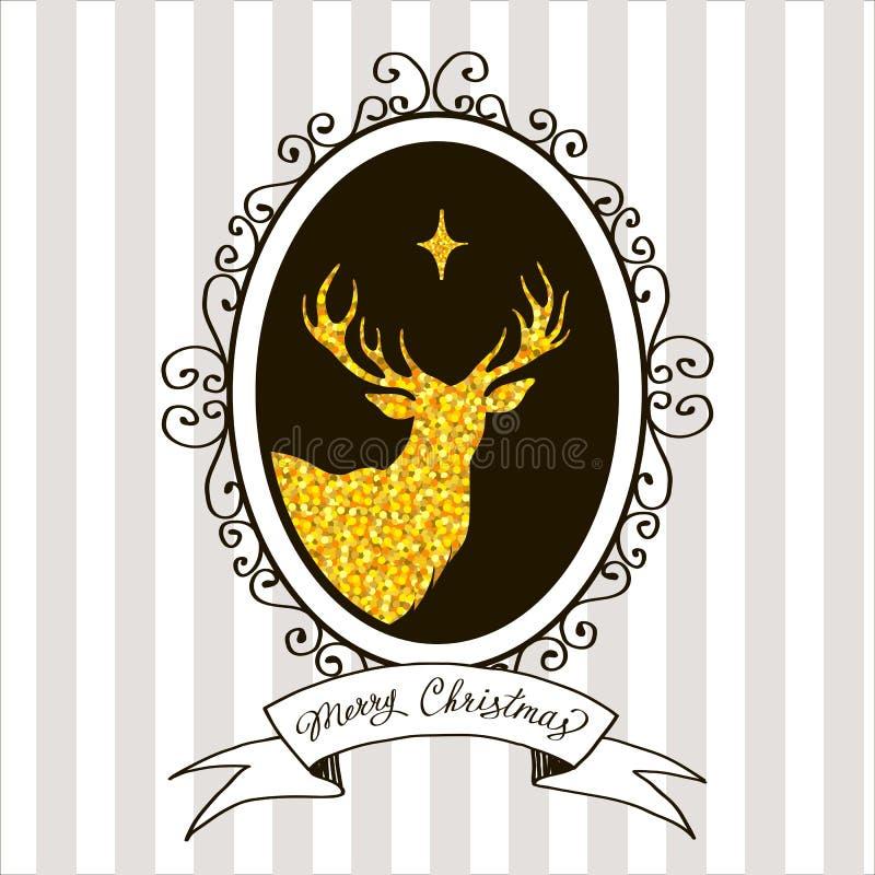 Julhälsningkort med en bild av en hjort vektor illustrationer