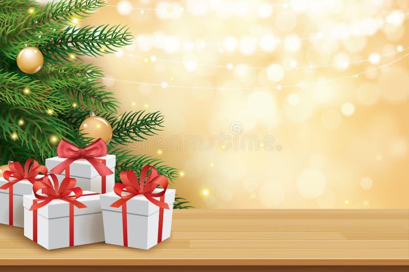 Julhälsningkort med gåvaaskar på trätabell- och trädbokehbakgrund Xmas och lyckligt nytt år vektor illustrationer