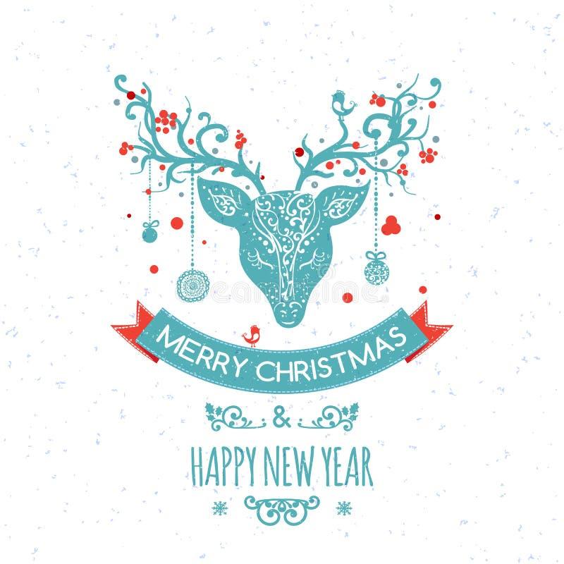 Julhälsningkort med hjortar, vektor royaltyfri illustrationer