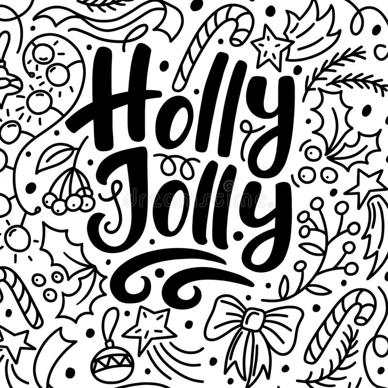 Julhälsningkort med Holly Jolly text vektor illustrationer