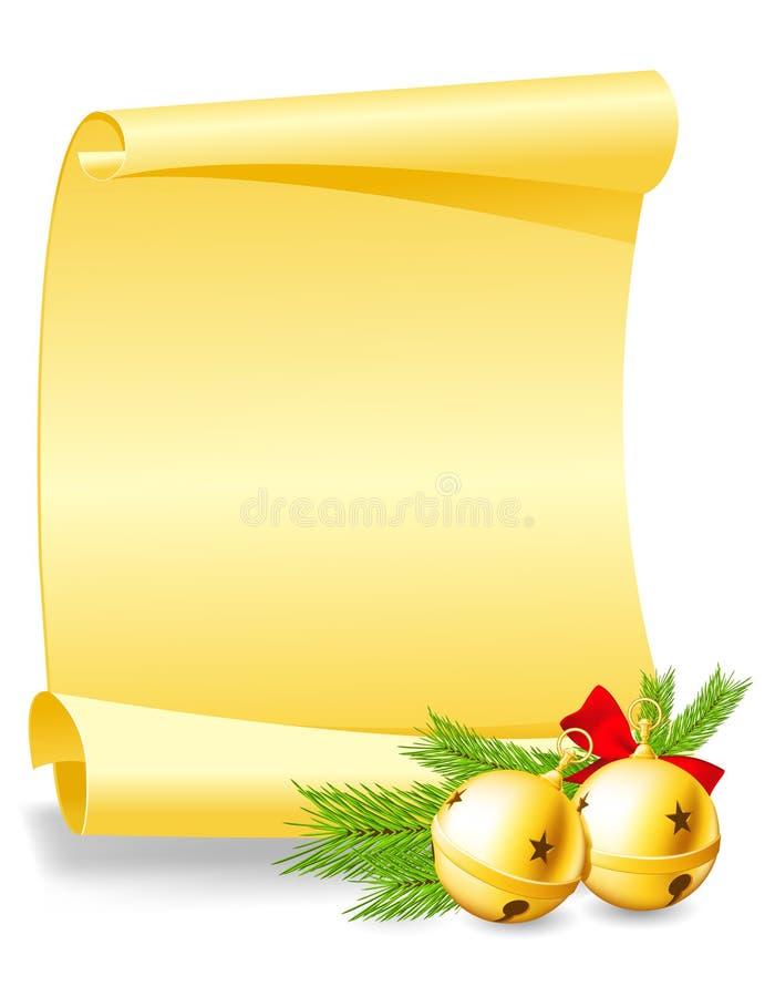 Julhälsningkort med klockor vektor illustrationer