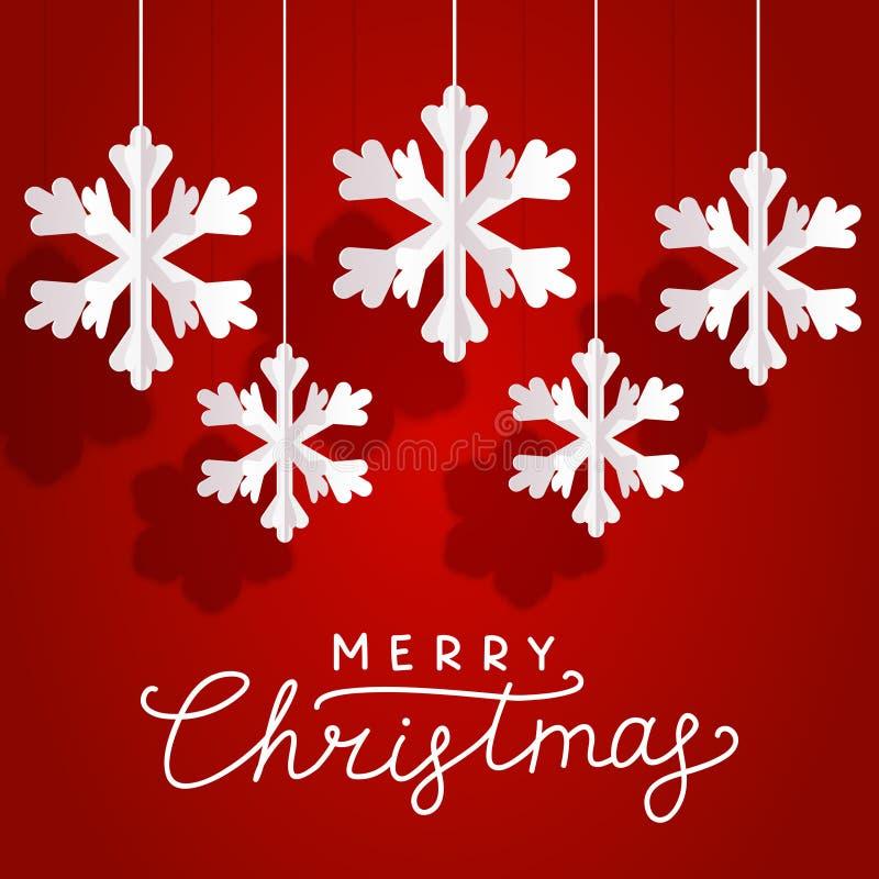 Julhälsningkort med pappers- snöflingor på röd bakgrund för din feriedesign stock illustrationer