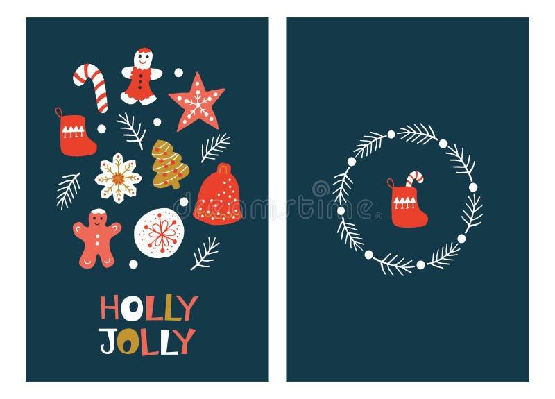 Julhälsningkort med pepparkakakakor stock illustrationer