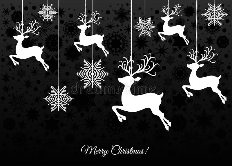 Julhälsningkort med renen royaltyfri illustrationer