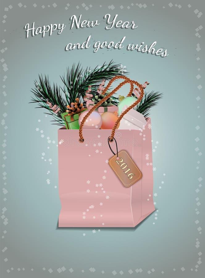 Julhälsningkort med struntsaker och gåvor vektor illustrationer