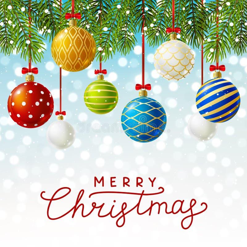 Julhälsningkort med Xmas-bollar stock illustrationer