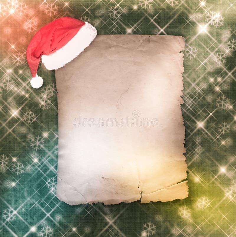 Julhälsningkortet med gammalt papper på gör grön abstrakt bac vektor illustrationer