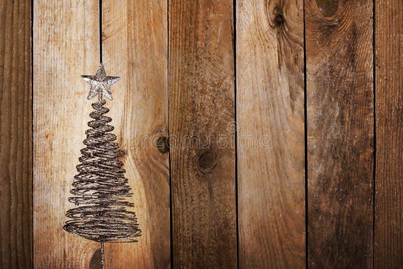 Download Julhälsningskort Med Guldmetallgran Arkivfoto - Bild av inre, design: 27288690