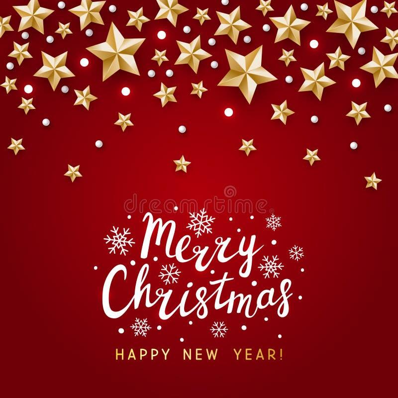 Julhälsningskort med gyllene stjärnor på röd - vektorbakgrund för vintersemesterdesign royaltyfri illustrationer