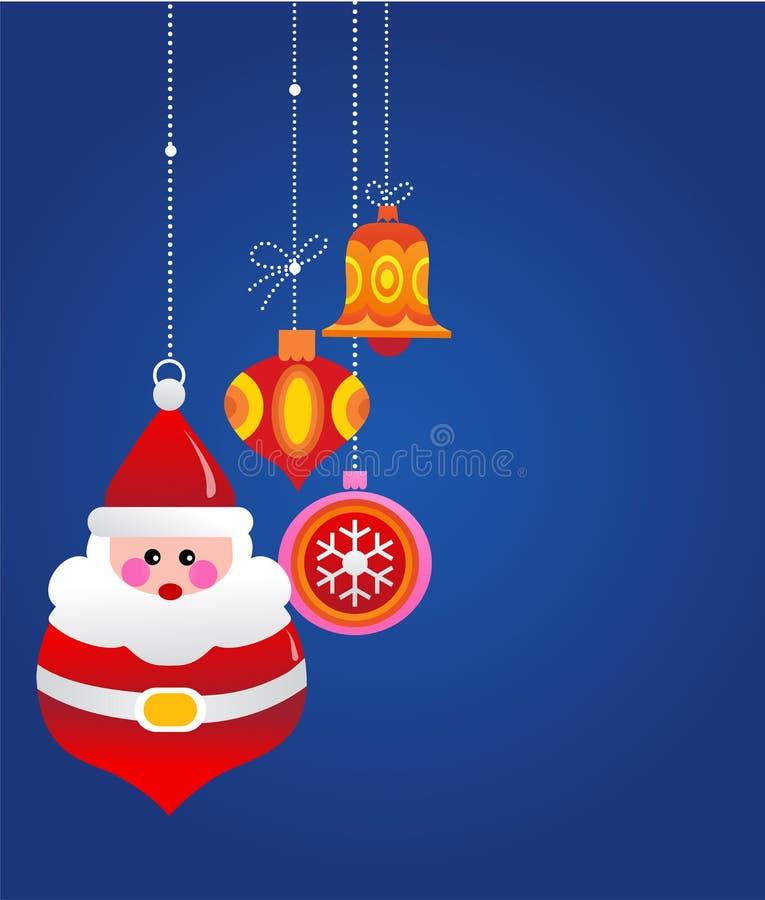Julhälsningskort med santa och prydnadar vektor illustrationer