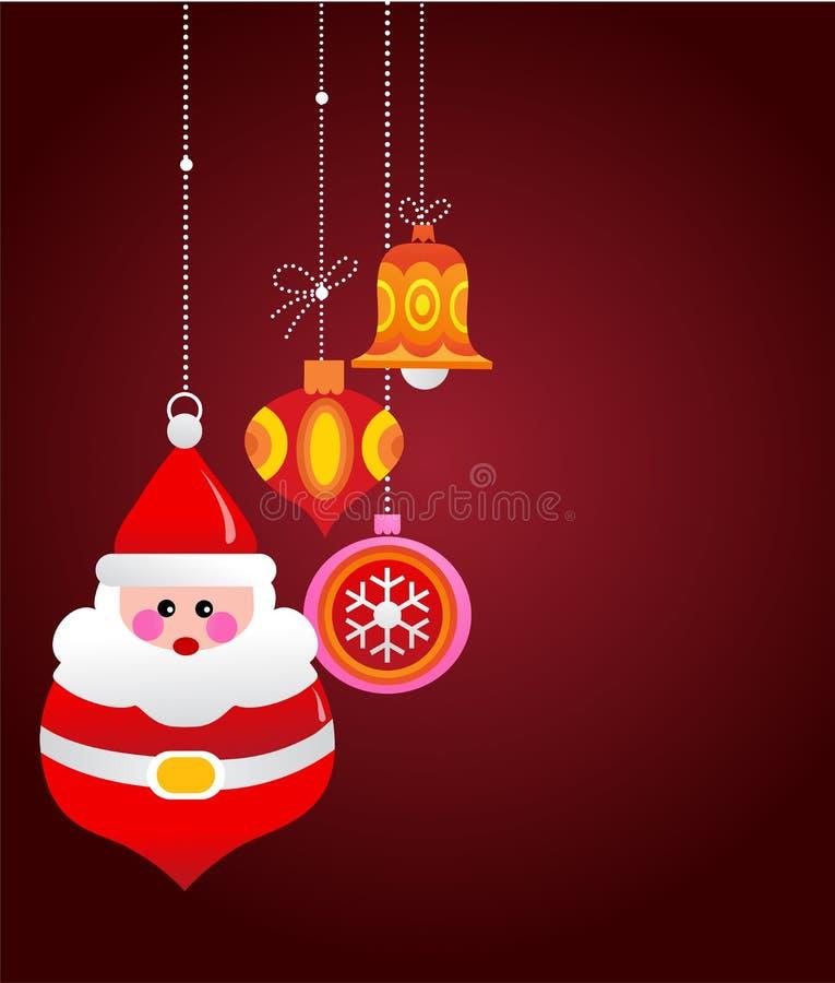 Julhälsningskort med santa och prydnadar stock illustrationer