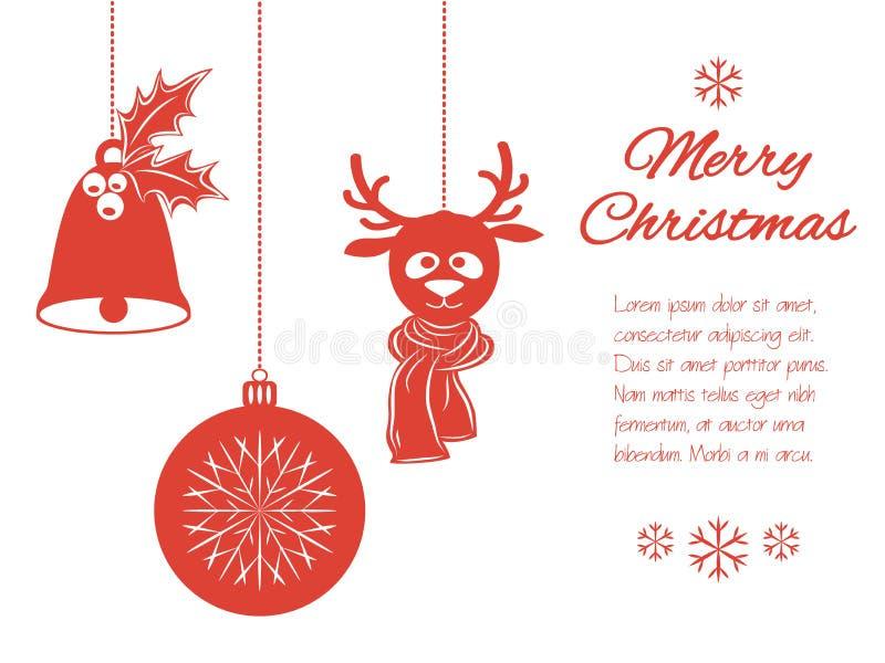 Julhängear: en klocka med järnek, bollen och en hjort i halsduk Universell gräns som isoleras på vit bakgrund med royaltyfri fotografi