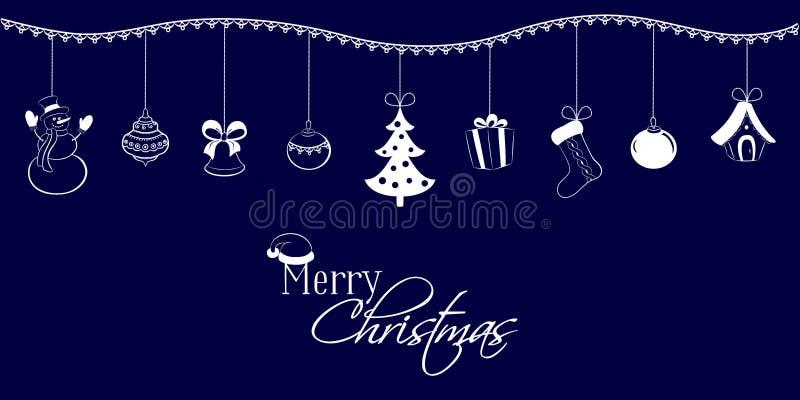 Julhängear på ett mörker - blå bakgrund Snögubbe klocka, boll, träd, gåva, socka, sagahus Lyckönsknings- inskrift royaltyfri illustrationer