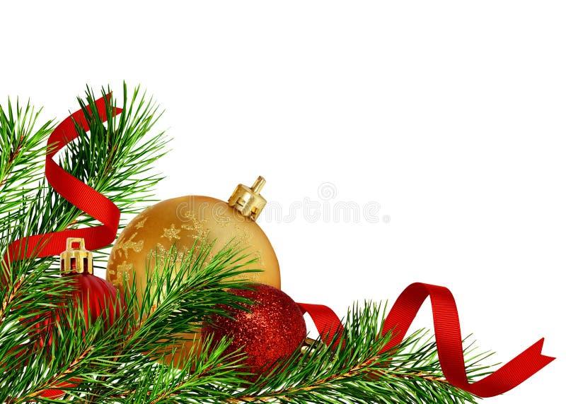 Julhörngarnering med sörjer ris och bollar royaltyfri foto