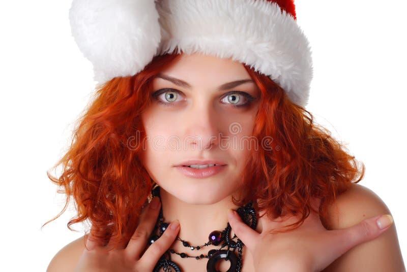 julhattkvinna royaltyfri fotografi