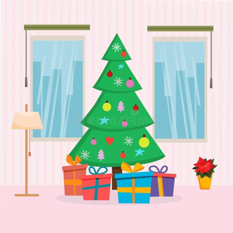 Julhemmiljö med trädet, gåvor, fönstret och lampan Plan illustration för tecknad filmstilvektor Jul och kort för nytt år vektor illustrationer