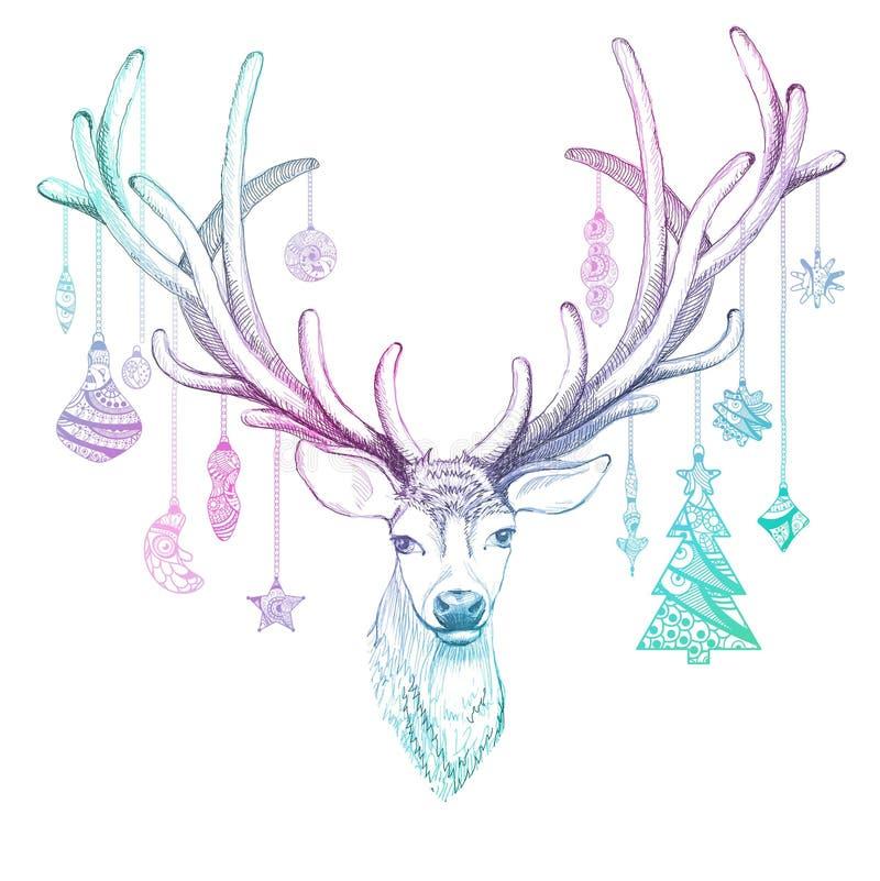Julhjortar med garnering vektor för häftklammer tre för gingham för blomma för kantprickar eps10 vaddera stock illustrationer