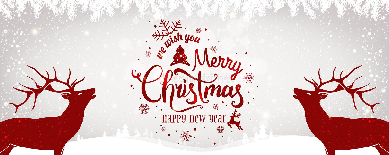 Julhjortar med jul och det nya året som är typografiska på ljus bakgrund med vinterlandskap med snöflingor stock illustrationer