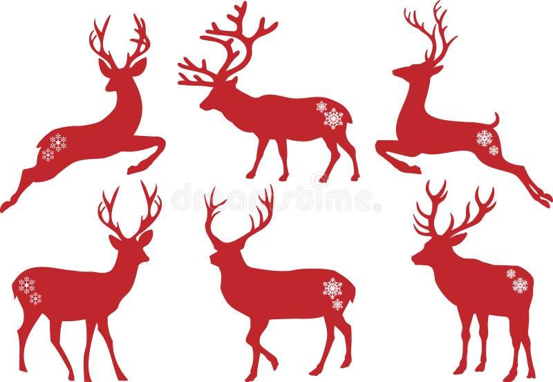 Julhjortfullvuxen hankronhjort, vektorset royaltyfri illustrationer