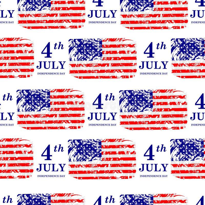? julho Teste padr?o sem emenda do Dia da Independ?ncia Bandeira americana foto de stock royalty free