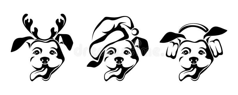 Julhundkapplöpning som bär jultomten hatt, renhorn på kronhjort royaltyfri illustrationer