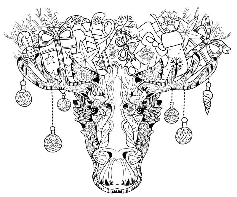 Julhuvud av den i lager vektorillustrationen för älg royaltyfri illustrationer