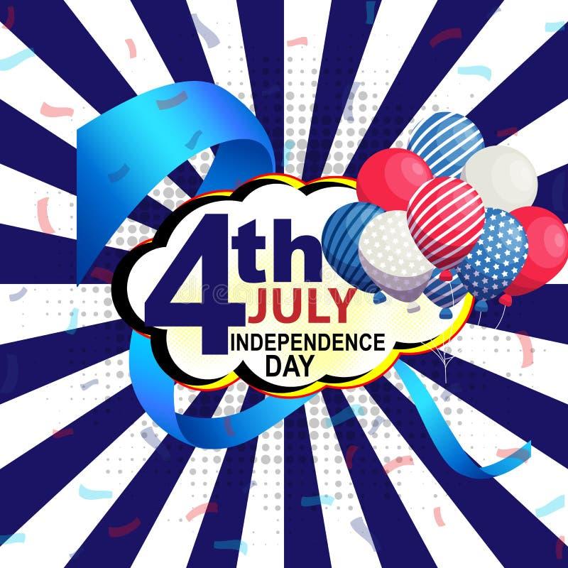 4 Juli-achtergrond met Amerikaanse elementen op blauwe achtergrond stock illustratie