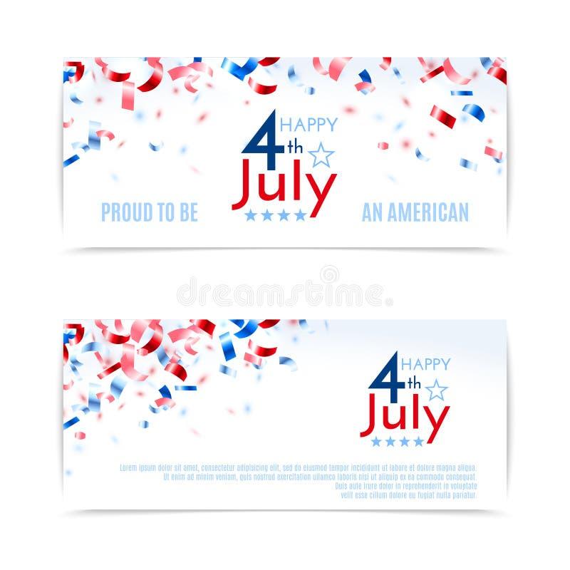 Juli 4., amerikanische Unabhängigkeitstagfahnen Vector Abbildung, EPS10 lizenzfreie abbildung