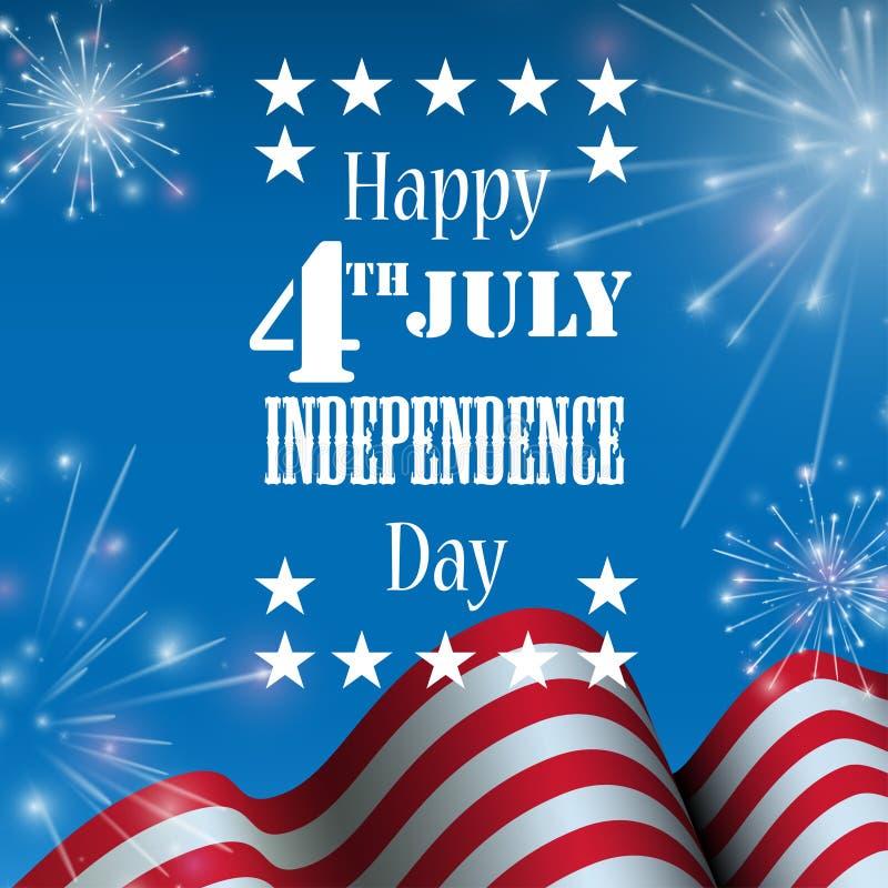 Juli 4., amerikanischer Unabhängigkeitstagfeierhintergrund mit Feuercrackern stock abbildung