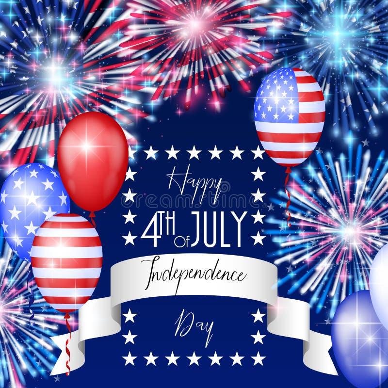 Juli 4., amerikanischer Unabhängigkeitstagfeierhintergrund mit Feuerfeuerwerken Glückwünsche auf Viertel von Juli lizenzfreies stockfoto