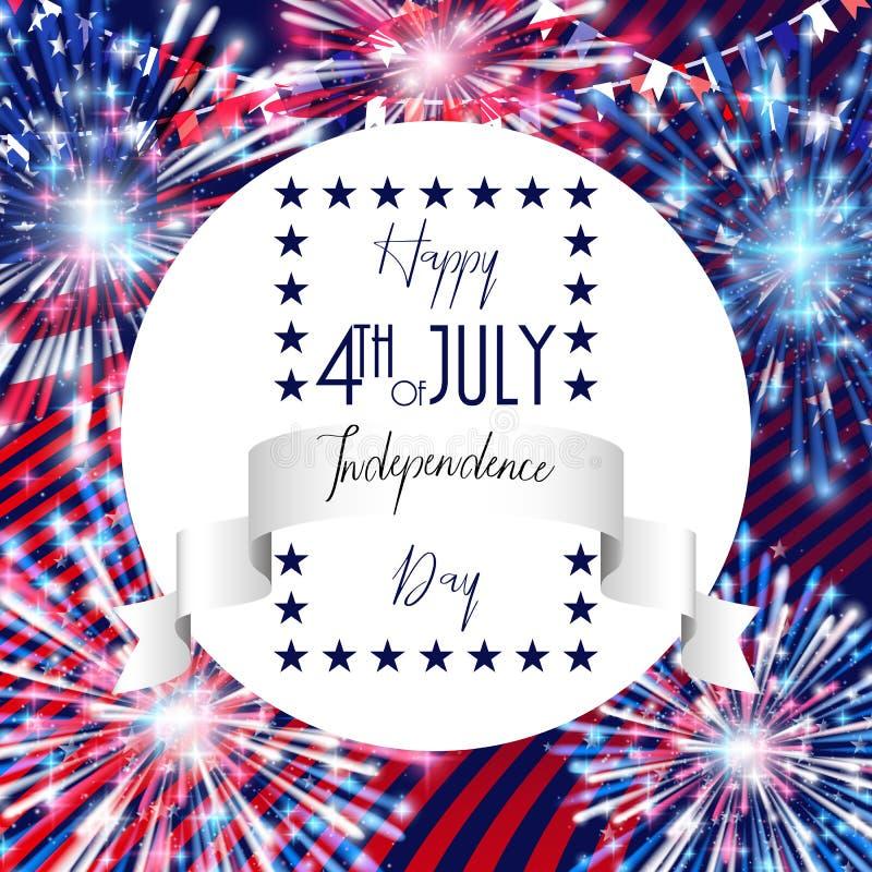 Juli 4., amerikanischer Unabhängigkeitstagfeierhintergrund mit Feuerfeuerwerken Glückwünsche auf Viertel von Juli lizenzfreie stockfotografie