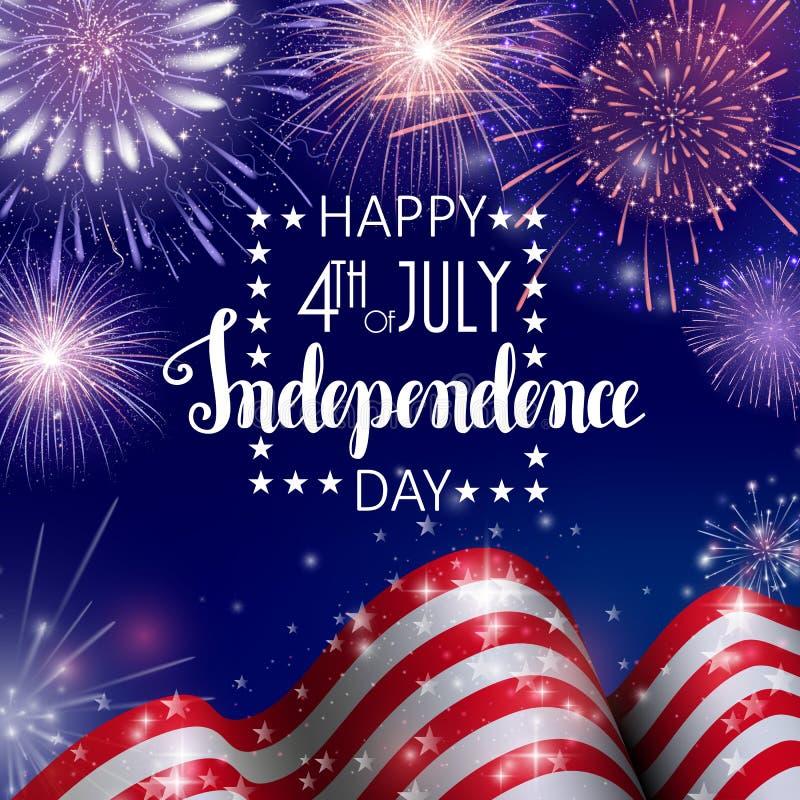 Juli 4., amerikanischer Unabhängigkeitstagfeierhintergrund mit Feuerfeuerwerken Glückwünsche auf Viertel von Juli stock abbildung