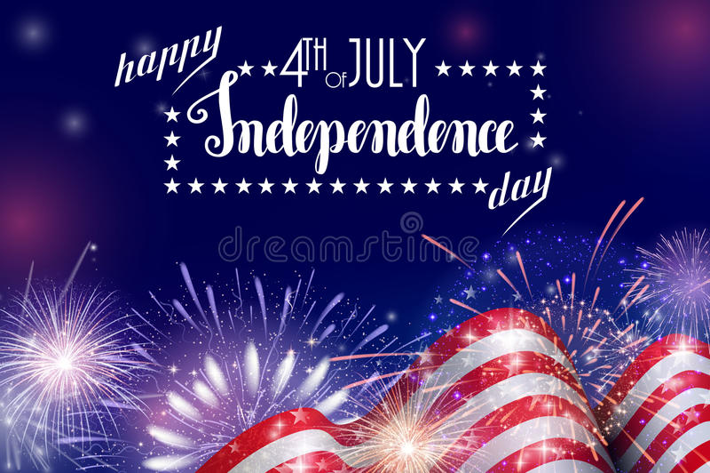 Juli 4., amerikanischer Unabhängigkeitstagfeierhintergrund mit Feuerfeuerwerken Glückwünsche auf Viertel von Juli lizenzfreie abbildung