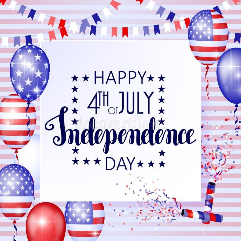 Juli 4., amerikanischer Unabhängigkeitstagfeierhintergrund mit Feuerfeuerwerken Glückwünsche auf Viertel von Juli vektor abbildung