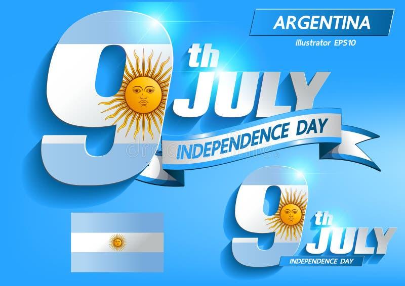 Juli 9 Argentina självständighetsdagenvektor vektor illustrationer