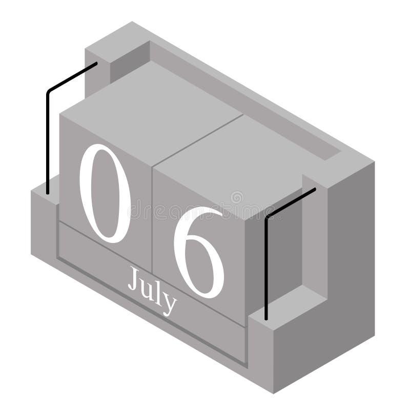 6. Juli Datum an einem Kalender des einzigen Tages Anwesendes Datum 6 des grauen h?lzernen Kalenderblocks und Monat Mai lokalisie stock abbildung