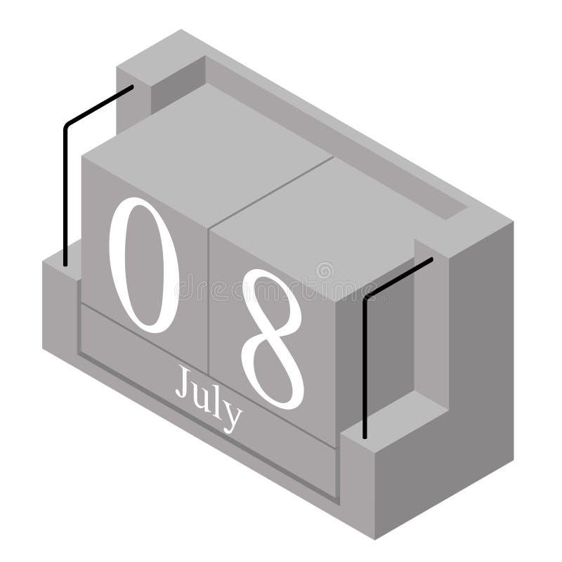 8. Juli Datum an einem Kalender des einzigen Tages Anwesendes Datum 8 des grauen h?lzernen Kalenderblocks und Monat Mai lokalisie lizenzfreie abbildung