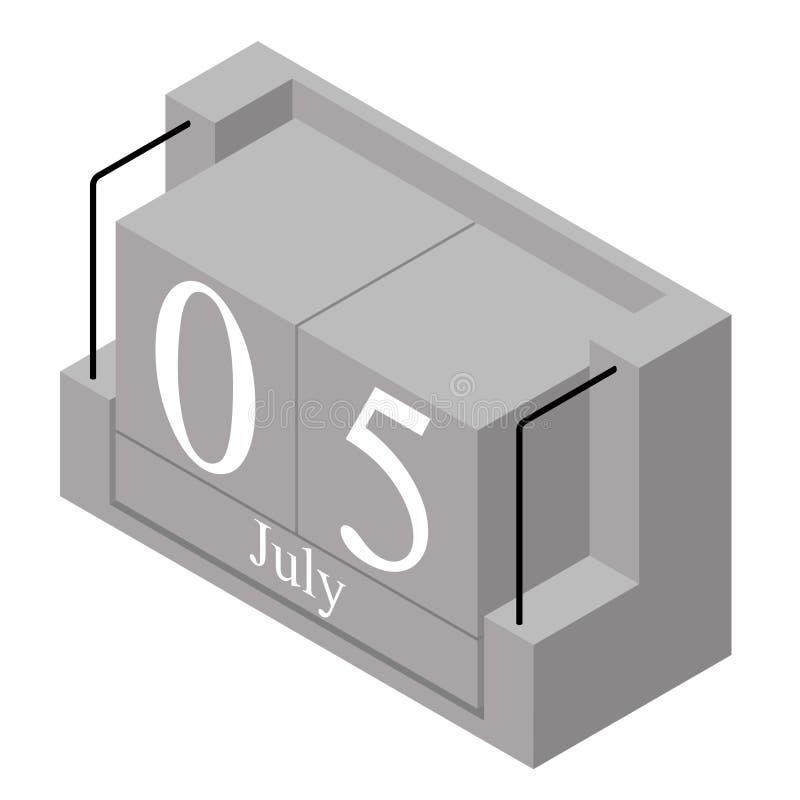 5. Juli Datum an einem Kalender des einzigen Tages Anwesendes Datum 5 des grauen h?lzernen Kalenderblocks und Monat Mai lokalisie stock abbildung