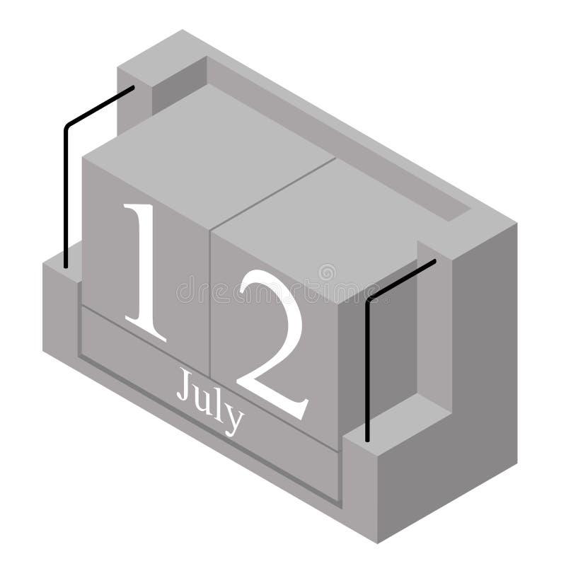 12. Juli Datum an einem Kalender des einzigen Tages Anwesendes Datum 12 des grauen h?lzernen Kalenderblocks und Monat Mai lokalis vektor abbildung