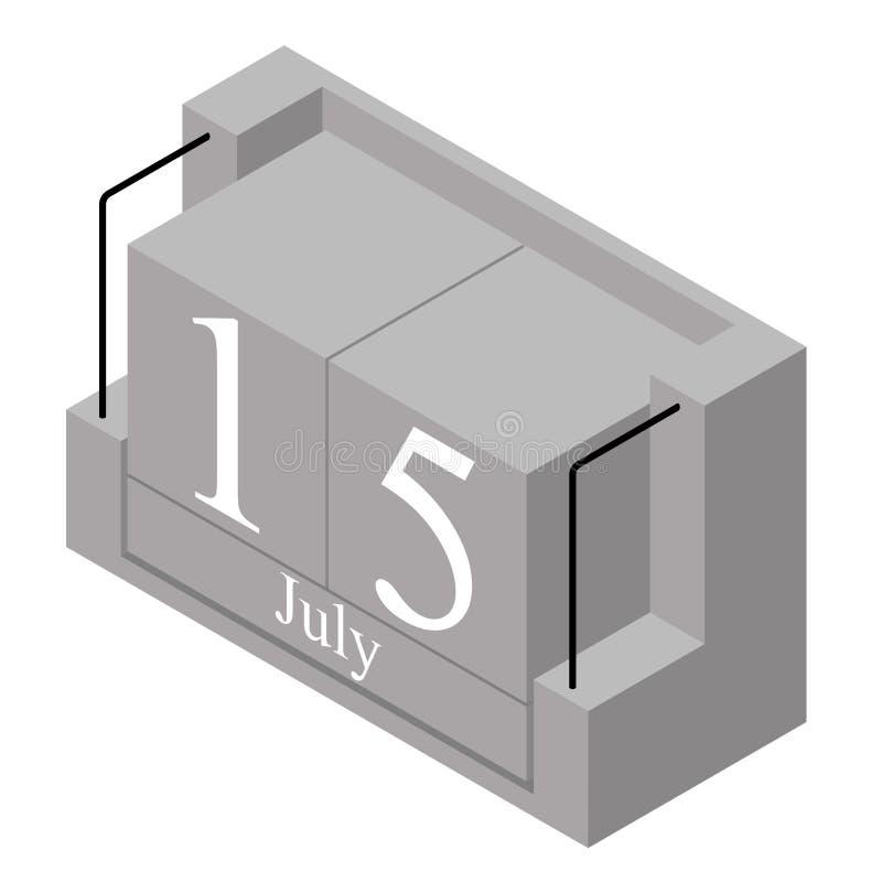 15. Juli Datum an einem Kalender des einzigen Tages Anwesendes Datum 15 des grauen h?lzernen Kalenderblocks und Monat Mai lokalis lizenzfreie abbildung