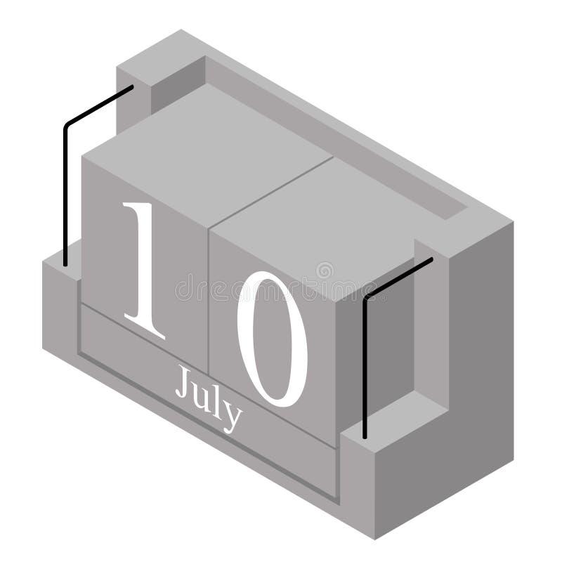 10. Juli Datum an einem Kalender des einzigen Tages Anwesendes Datum 10 des grauen h?lzernen Kalenderblocks und Monat Mai lokalis lizenzfreie abbildung